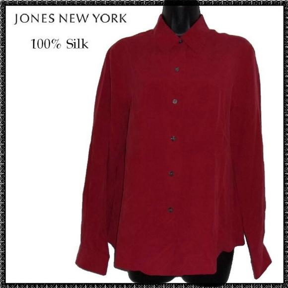 JONES NEW YORK Blouse 8 M Rust 100% SILK Career